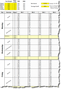 5X5 Workout Routine - Madcow 5x5 Spreadsheet - PORTRAIT - Intermediate